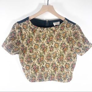 Pin & Needles Cropped Upholstery Top Shirt floral